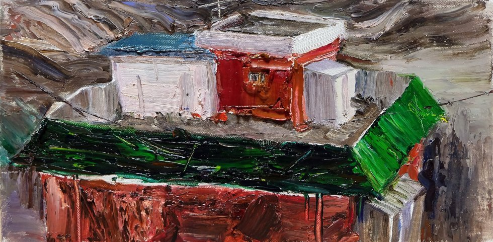 Rooftop by so young lee - My surroundings. - painting, oilpainting, oiloncanvas, seoul, house, art, artwork, matiere