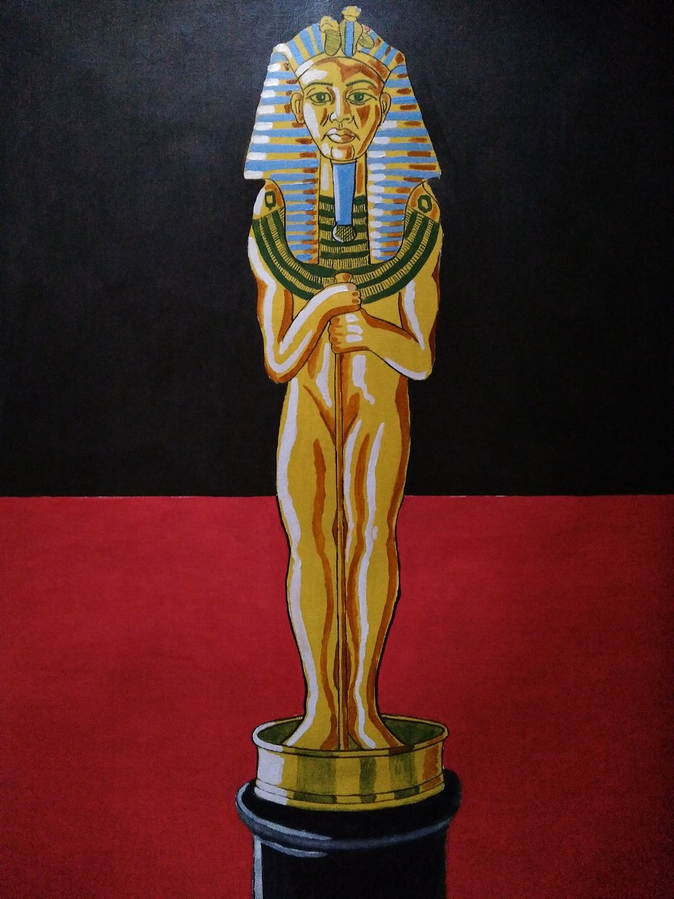 PHARA-OSCAR by SPANGLISH ART GALLERY  - THIS PICTURE IS INSPIRED IN A WORK OF SALVADOR DALI. SHOWS THE PHARAOH TUTAN-KAMON POSING AS AN OSCAR. OÍLS ON PAPER, 50X70CMS, VARNISHED, UNFRAMED. (JUST THE PAPER). - painting, oils, fantasy, pharaoh, tutankamon, egypt, surrealism, dali, ooscars