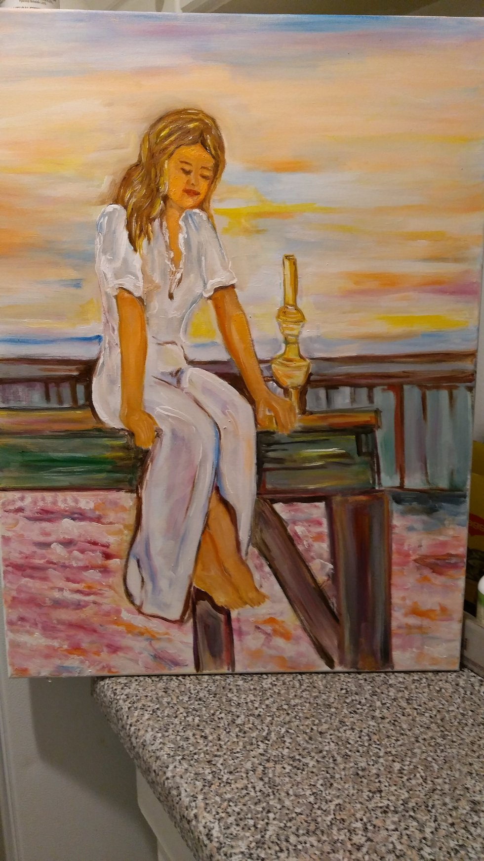 Sunset buty by Salah shahin - Fine painting give impression how the buty United with nature - painting